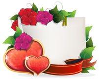 Карточка дня валентинок с сердцами и цветками Стоковое Изображение