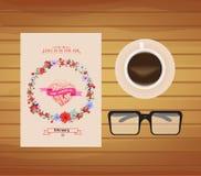 Карточка дня валентинок с флористической предпосылкой иллюстрация штока