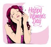 Карточка дня женщин 8-ое марта с графическим портретом женщины иллюстрация вектора