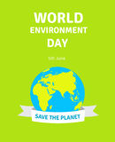 Карточка дня мировой окружающей среды, плакат с глобусом Иллюстрация концепции дня мировой окружающей среды Земля с ровной Стоковые Изображения