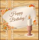 Карточка дня рождения scrapbooking с свечой Стоковые Фотографии RF