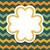 Карточка дня patricks St с клевером 4 лист на шевроне Стоковая Фотография