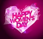 Карточка дня ` s женщин с сердцем диаманта иллюстрация вектора