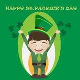 Карточка дня StPatrick с человеком в традиционном зеленом костюме Стоковые Фото