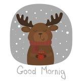 Карточка доброго утра с оленями и чашкой Стоковые Изображения RF