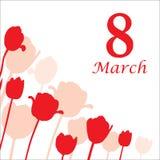 Карточка 8-ое марта украсила силуэт тюльпана иллюстрация штока