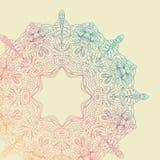 Карточка орнамента шнурка круга нарисованная вручную Орнаментальная круглая картина Стоковая Фотография RF