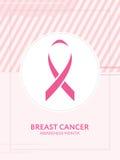 Карточка осведомленности рака молочной железы Розовая кампания ленты Стоковое Фото