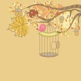 Карточка осени с птицей Стоковые Фотографии RF