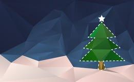 Карточка отрезанная рождественской елкой вне иллюстрация вектора