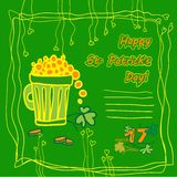 Карточка партии дня St. Patrick Ирландского с плоскими символами праздника и места для текста также вектор иллюстрации притяжки c Стоковое Фото