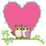 Карточка пар влюбленности сыча Стоковое Изображение RF