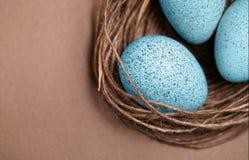 карточка пасха Покрашенные пасхальные яйца в гнезде, коричневой предпосылке Символ весны, христианство вероисповедания Ретро карт Стоковые Фотографии RF