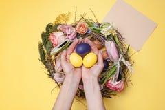 карточка пасха Покрашенные пасхальные яйца в гнезде на желтой предпосылке Стоковое фото RF