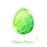 Карточка пасхального яйца с цветком. Иллюстрацию вектора, можно использовать как Стоковая Фотография