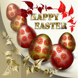 Карточка пасхи с покрашенными пасхальными яйцами иллюстрация вектора