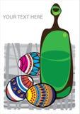 Карточка пасхи с яичками и бутылкой Стоковое Фото