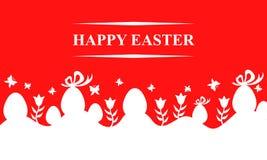 Карточка пасхи с яичками и цветками на красной предпосылке бесплатная иллюстрация