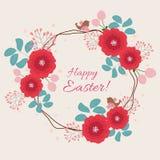 Карточка пасхи флористическая Стоковые Изображения RF