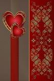 Карточка поздравлению с красными сердцами Стоковые Изображения RF