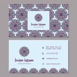Карточка посещения и комплект визитной карточки с мандалой конструируют элемент Стоковые Фото
