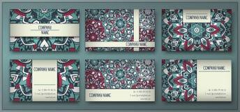 Карточка посещения и комплект визитной карточки с мандалой конструируют элемент иллюстрация штока