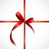 Карточка подарка с красными лентой и смычком также вектор иллюстрации притяжки corel Стоковое фото RF