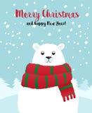 Карточка праздника рождества с белым полярным медведем Стоковые Изображения