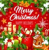 Карточка праздника рождества с гирляндой Нового Года, колоколом иллюстрация вектора