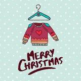 Карточка праздника шаржа моды свитера рождества бесплатная иллюстрация