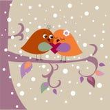 Карточка праздника с птицами иллюстрация штока