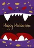 Карточка праздничного подарка хеллоуина с извергом иллюстрация вектора