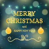 Карточка предпосылки знамени рождества вектора с текстом, гирляндой и шариками Стоковое Изображение RF
