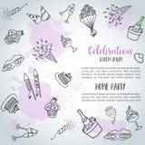 Карточка предпосылки doodle вечеринки по случаю дня рождения Vector знамена шаблона для плаката, приглашения, рогульки, партии, с Стоковая Фотография RF