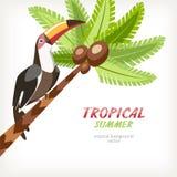 карточка предпосылки с ладонью и toucan Стоковые Фото