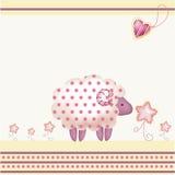 карточка приветствуя розовых овец Бесплатная Иллюстрация
