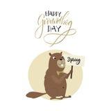 карточка 2007 приветствуя счастливое Новый Год День Groundhog Стоковые Фотографии RF