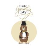 карточка 2007 приветствуя счастливое Новый Год День Groundhog Стоковые Фото