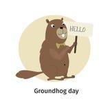 карточка 2007 приветствуя счастливое Новый Год День Groundhog Стоковая Фотография RF