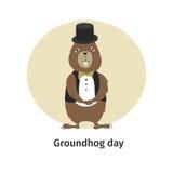 карточка 2007 приветствуя счастливое Новый Год День Groundhog Стоковые Изображения RF
