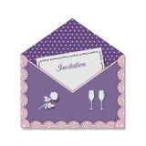Карточка приглашения для романтичной встречи, украшенная с шнурком, на предпосылке точек польки иллюстрация штока