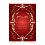 Карточка приглашения, предпосылка карточки свадьбы орнаментальная красная иллюстрация штока