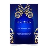 Карточка приглашения, предпосылка сини карточки свадьбы иллюстрация штока