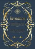 Карточка приглашения, карточка свадьбы с ornamental на сини иллюстрация штока
