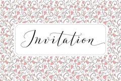 Карточка приглашения с написанной рукой изготовленной на заказ предпосылкой каллиграфии и сердец Большой для дизайна wedding и ве Стоковое Изображение RF