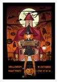 Карточка приглашения хеллоуина с костюмом ведьмы иллюстрация штока