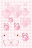 Карточка приглашения детского душа для двойных младенцев vector иллюстрация Стоковые Фотографии RF