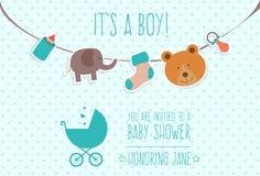 Карточка приглашения ливня младенца Стоковые Фото