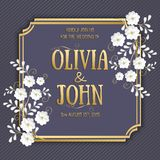 Карточка приглашения и объявления свадьбы с флористическим художественным произведением предпосылки Элегантное богато украшенное  Стоковое Изображение RF