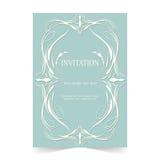 Карточка приглашения, карточка свадьбы с орнаментальной зеленой предпосылкой Стоковое Фото